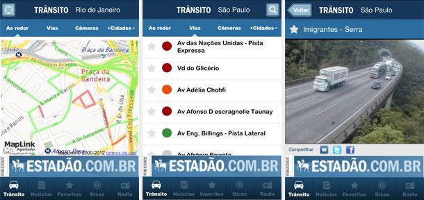 Trânsito, vias e câmeras do aplicativo Trânsito para iPhone