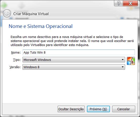 Windows 8 no Virtual Box criação da máquina virtual