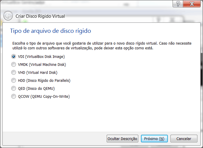 Windows 8 no Virtual Box tipo de disco