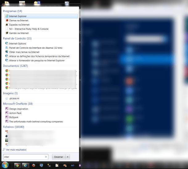 Pesquisa no PC no Windows 7