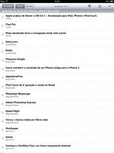 Feeddler - lista de artigos