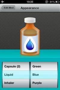 Pillboxie - selecionando o visual do medicamento
