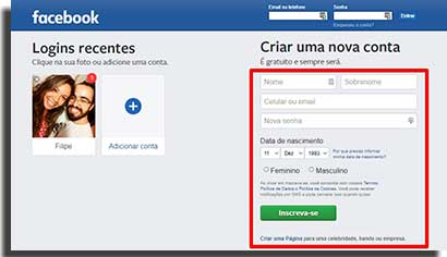 aplicativo do facebook cadastrar
