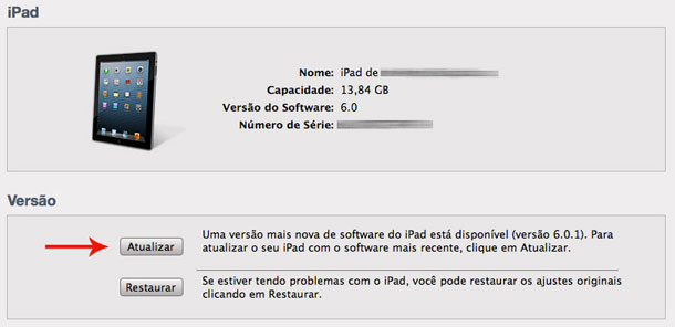 Atualize iPad e iPhone ao iOS 6.0.1 via iTunes
