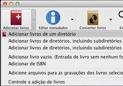 Calibre - menu adicionando arquivos