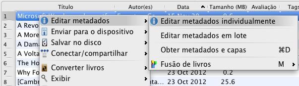 Calibre - editar metadados