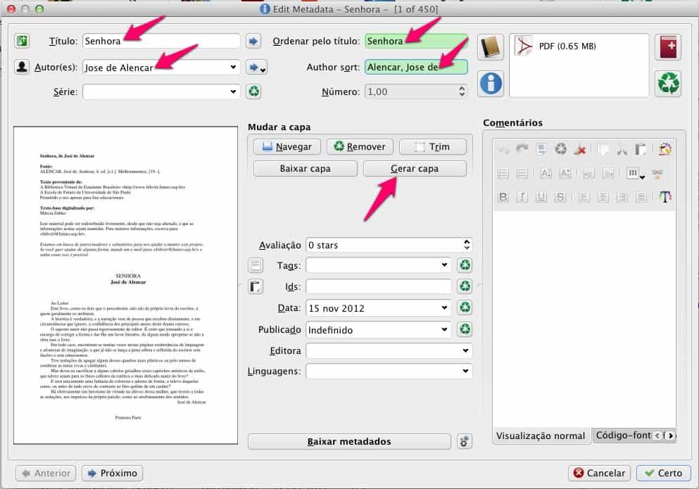 Calibre - editando metadados