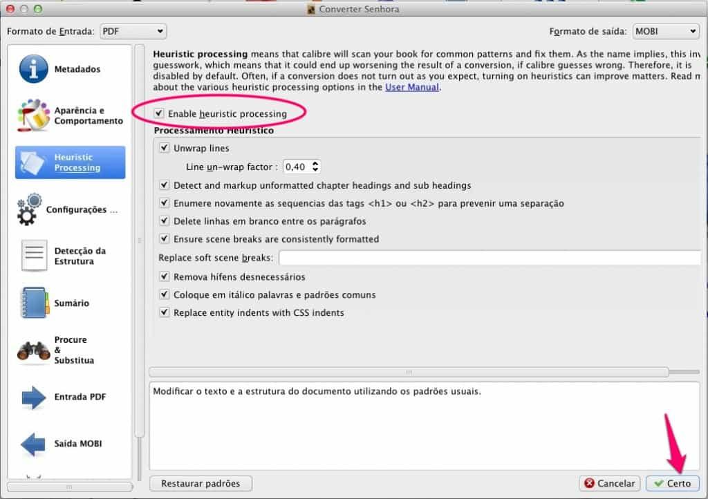 Como converter ebooks heuristic processing