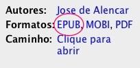 Calibre - formato EPUB na lista