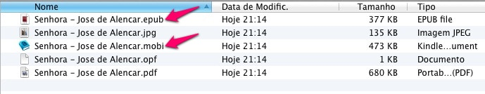 Calibre - arquivos