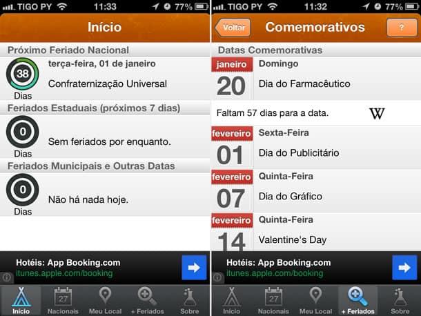 Tela de inicio e datas comemorativas no Feriados 2013 para iPhone