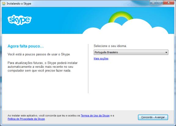contatos do MSN instalação do skype