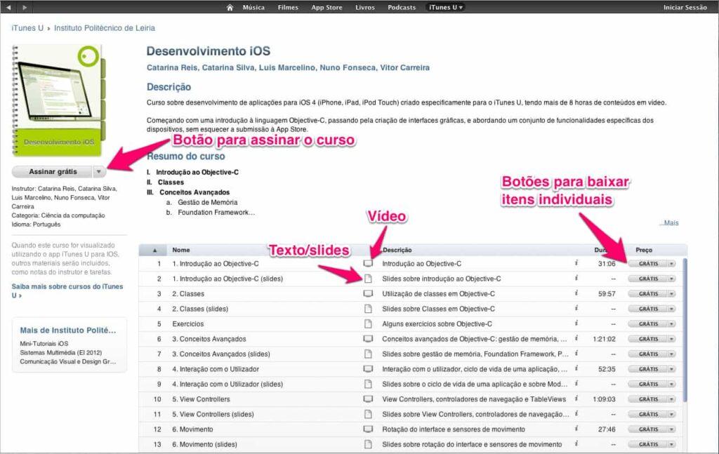 iTunes U - detalhes do curso