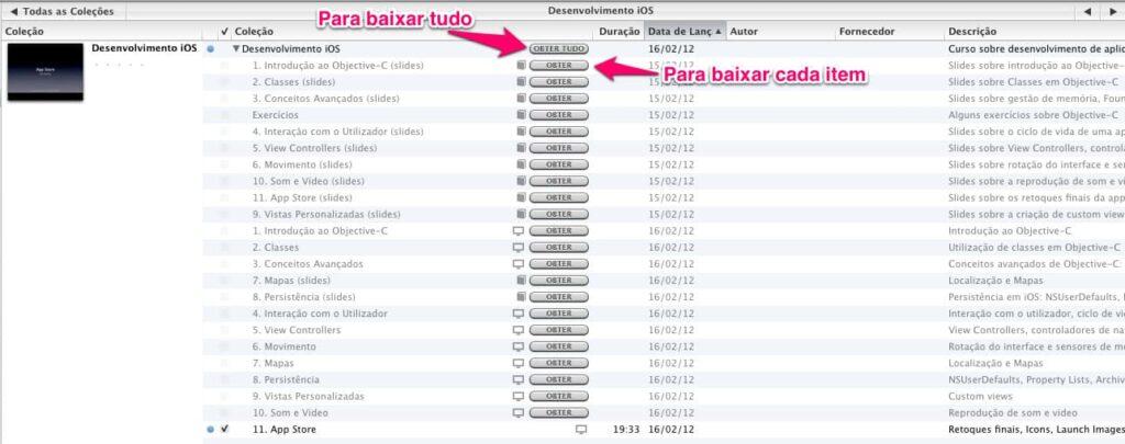 iTunes U - detalhes do curso na biblioteca
