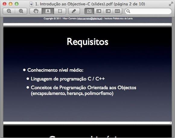iTunes U - lendo o arquivo PDF