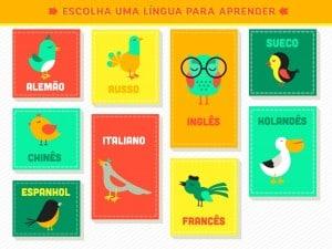 Línguas disponíveis no Aprender idiomas para iPad