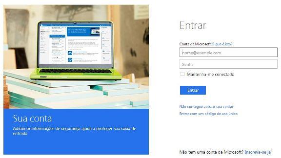 Tela de login no site do MSN