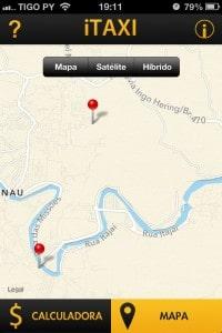 Mapa do trajeto no iTaxi para iPhone.
