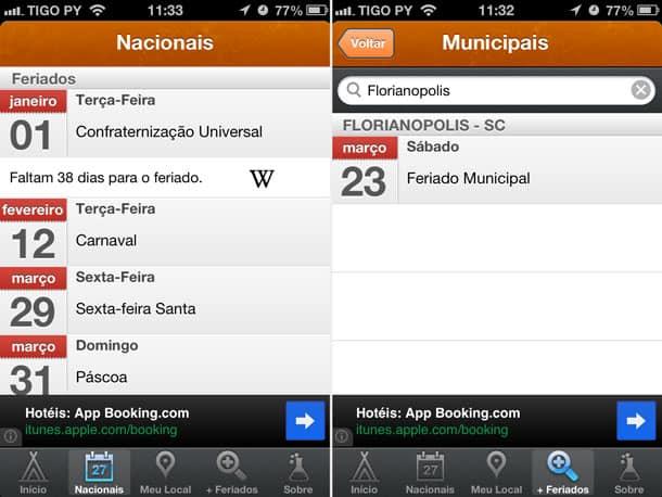 Feriados nacionais e feriados municipais no iPhone
