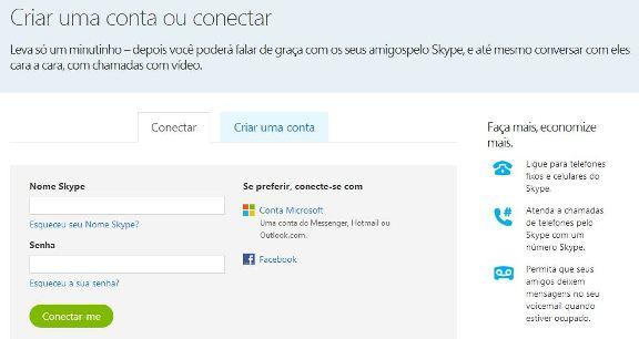 Tela de cadastro no novo Skype