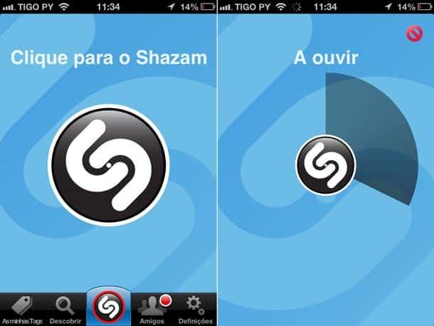 Shazam capturando o som.