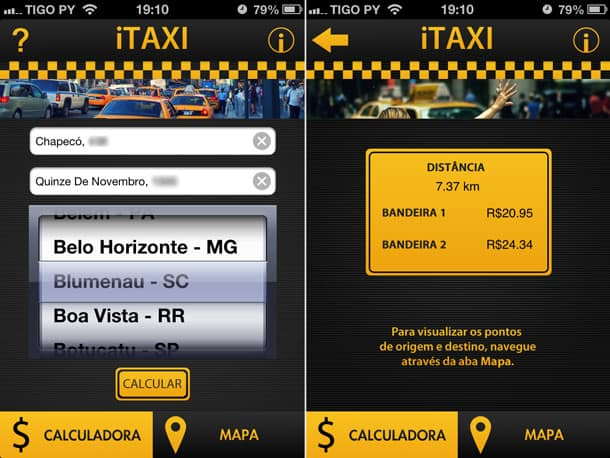 Pesquisa de preço de táxi no aplicativo iTaxi para iPhone.
