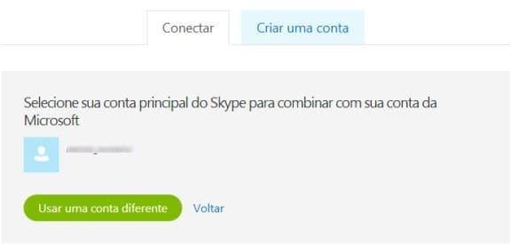 Seleção da conta Skype para integração