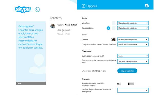 Skype Metro configurações