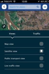Vistas de mapa, satélite e trânsito.