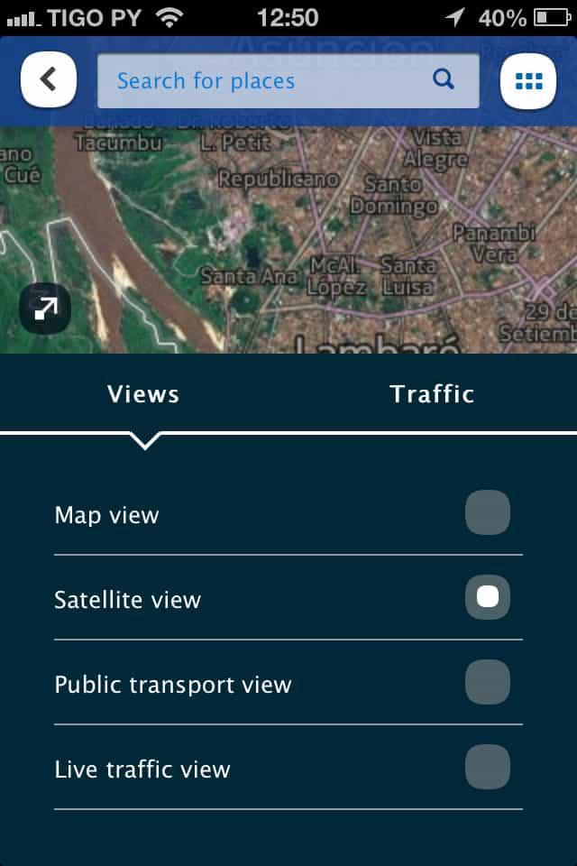Here Maps Vistas de mapa, satélite e trânsito