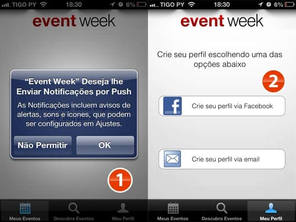 Primeiro aceite as notificações, depois cadastre-se via Facebook.