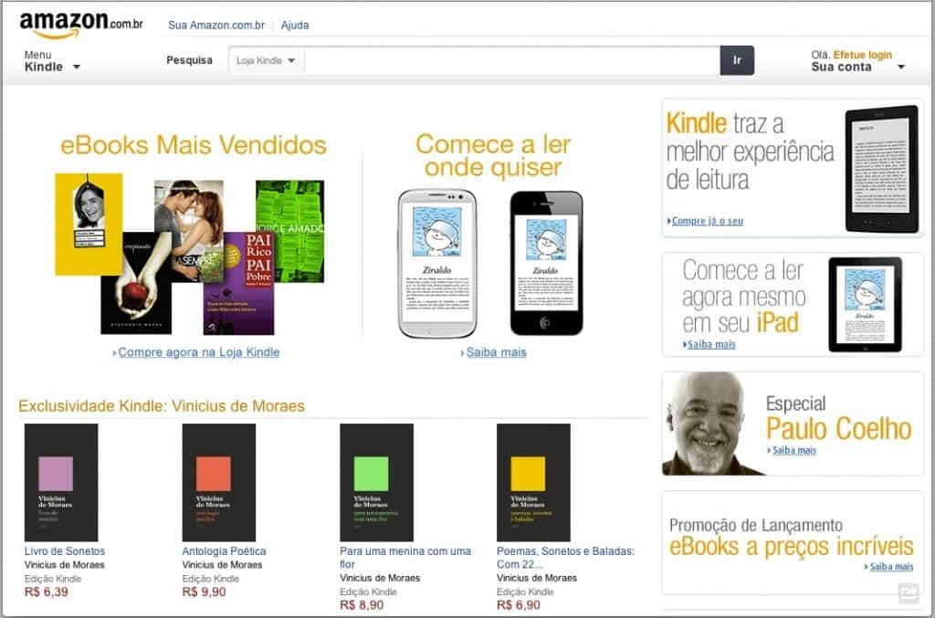Novo site da Amazon no Brasil
