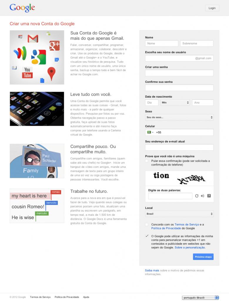 criar um e-mail do Gmail PC