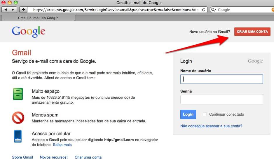 criar um e-mail do Gmail