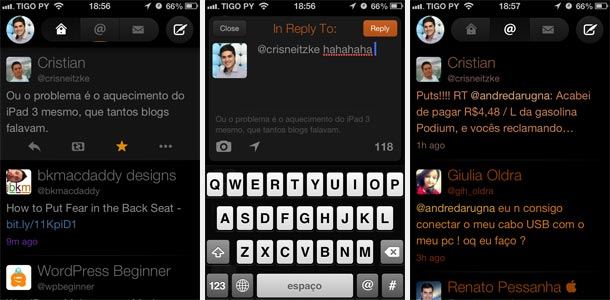 Nova interface do Twitterrific 5