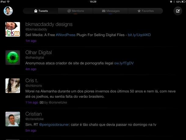 O Twitterrific 5 é universal, na imagem, interface para iPad.