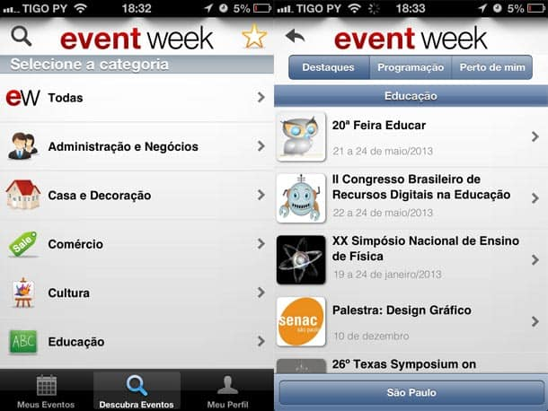 Lista de eventos no Event Week para iPhone