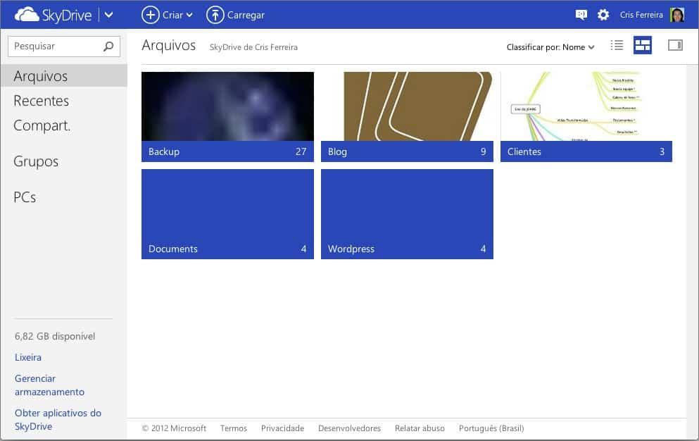 SkyDrive - tela principal