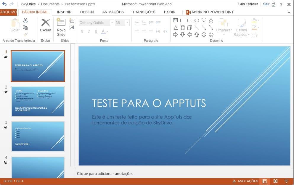 SkyDrive - edição de uma apresentação