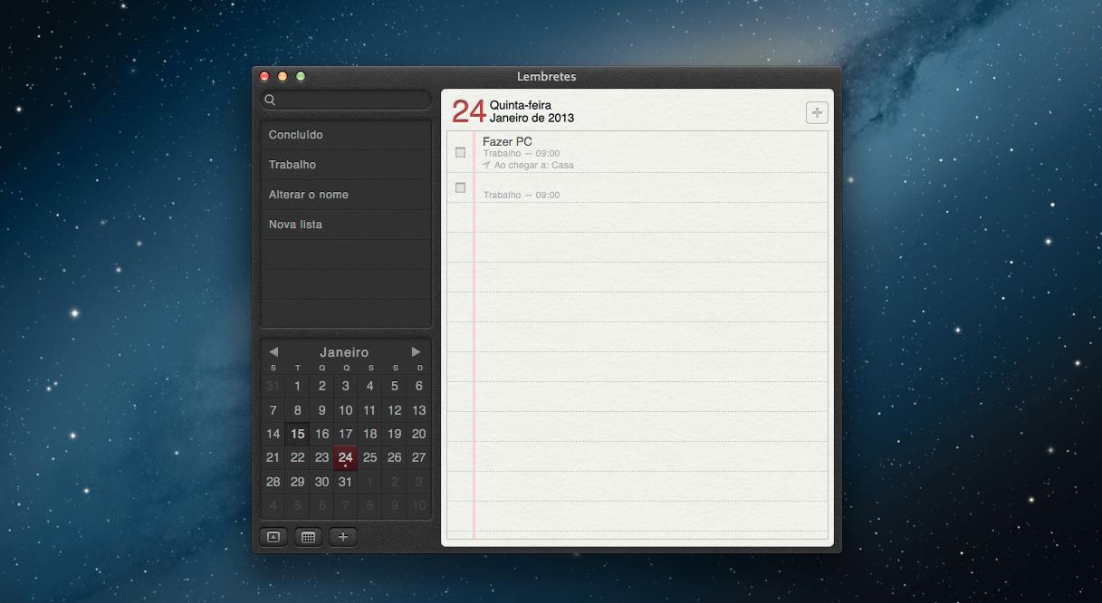 Aplicativo dos Lembretes no Mac