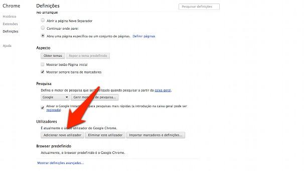 adicionar novo usário no Chrome