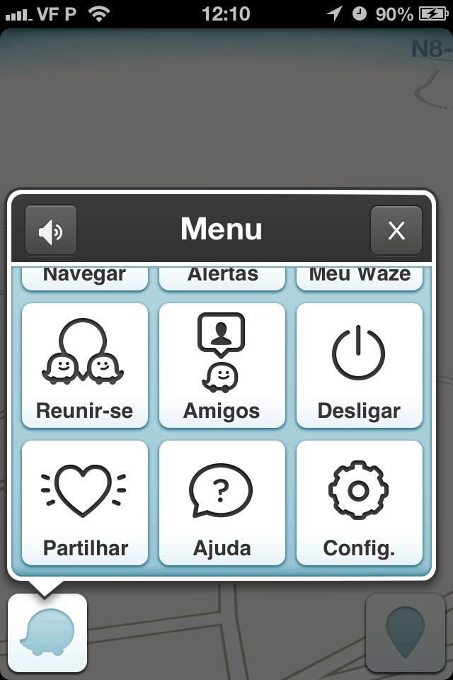 Opções do Waze para Iphone