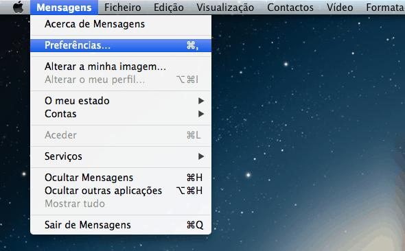 mensagem no iPhone preferências do iMessage