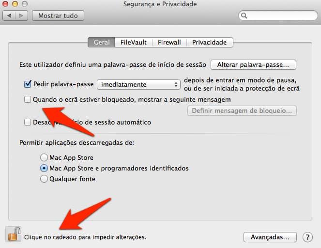 Mensagem de boas-vindas no Mac