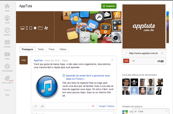 Página do AppTuts no Google+