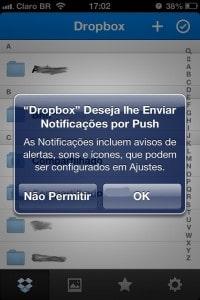Dropbox - notificações push