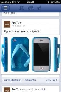 Facebook - mostrando uma página
