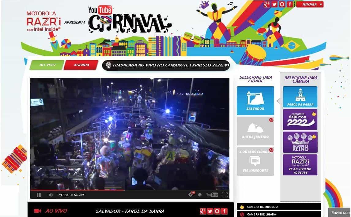 Carnaval no Youtube com transmissões de Carnaval
