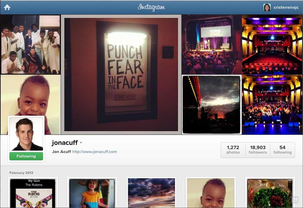 Instagram - perfil do usuário