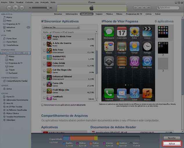 Apps no iTunes organização